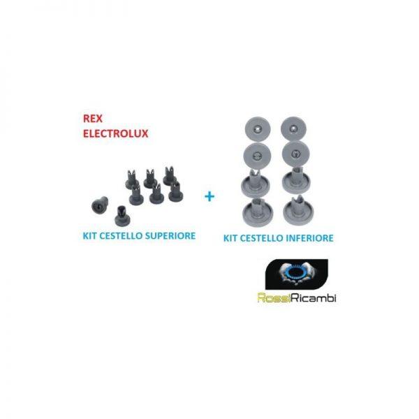 REX ELECTROLUX ZANUSSI KIT 16 RUOTE LAVASTOVIGLIE CESTELLO INFERIORE + SUPERIORE
