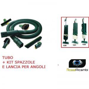 VORWERK FOLLETTO VK 120-121-122 TUBO FLESSIBILE + KIT PENNELLI LANCIA SPAZZOLA