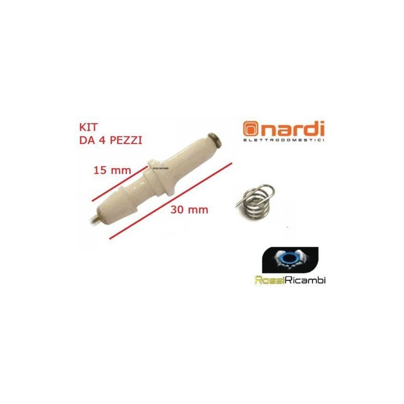 NARDI KIT 4 CANDELETTE ACCENSIONE ELETTRONICA CUCINA PIANO COTTURA 30 mm MOLLA