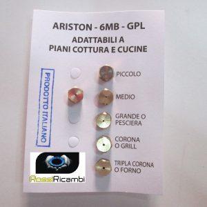 ARISTON UGELLI PIANO COTTURA CUCINA GAS 5 FUOCHI + FORNO- GAS GPL - 6MB