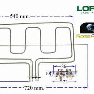 LOFRA RESISTENZA DOPPIA SUPERIORE FORNO ELETTRICO -1000/2000 WATT 03010498