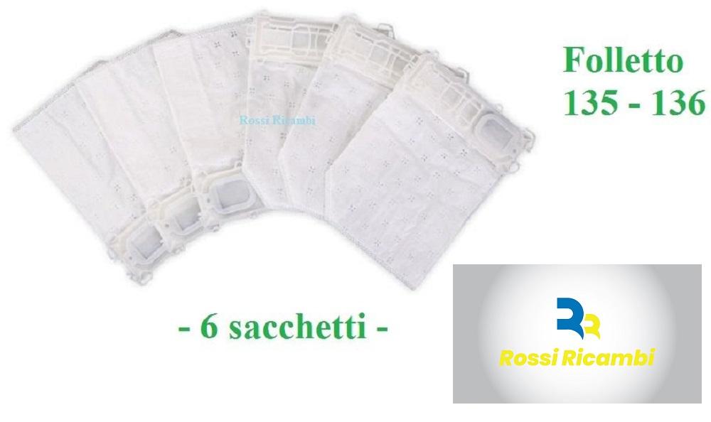 Sacchetti ORIGINALI VORWERK Folletto VK 135//VK 136-6 Sacchetti in Confezione